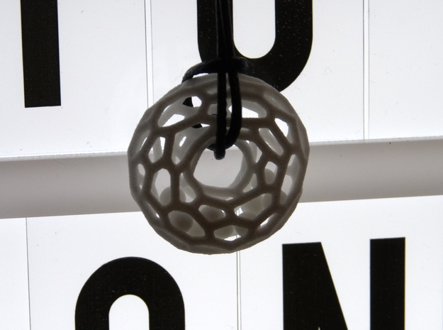 Voronoi tor pendant with little balls moving freel in White Natural Versatile Plastic