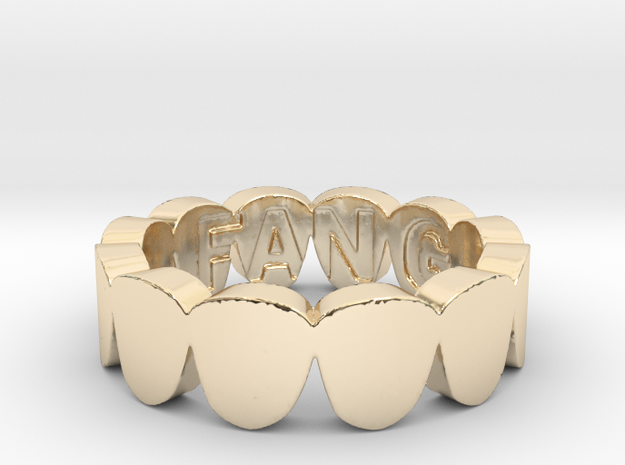 Fang Gang Ring in 14k Gold Plated Brass