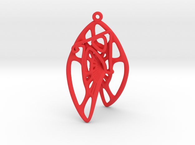 Personalised Voronoi Catalan Curve Earring (002) in Red Processed Versatile Plastic