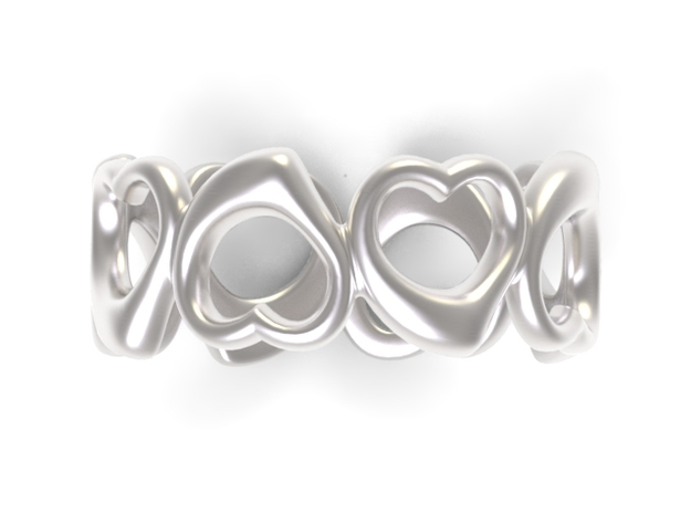 Happy hearts ring band, Size 6.5 in Polished Silver