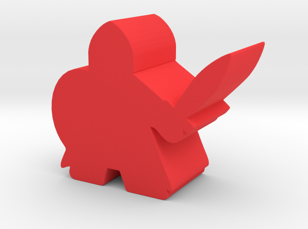 Meeple Knight in Red Processed Versatile Plastic