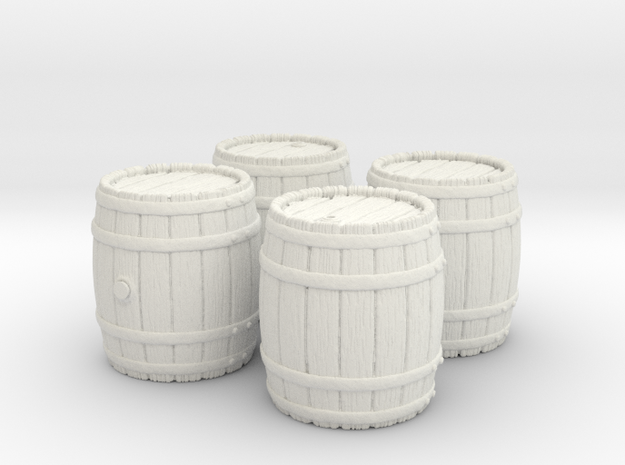 Wooden Barrel, x4, 28mm Scale in White Natural Versatile Plastic