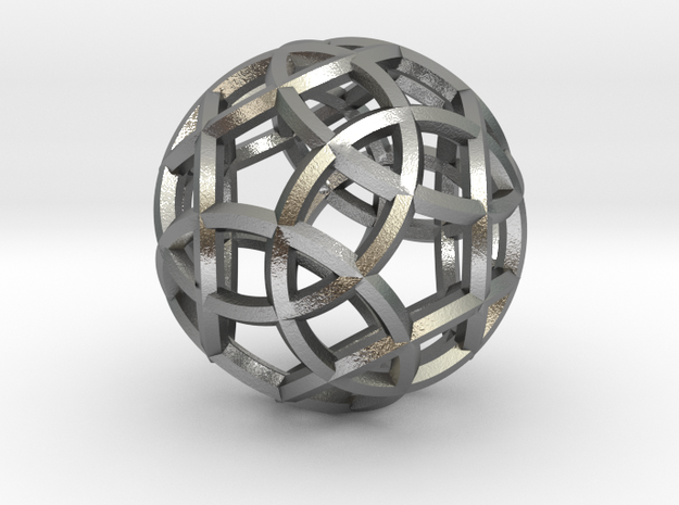 Rhombicosidodecahedron Pendant in Natural Silver