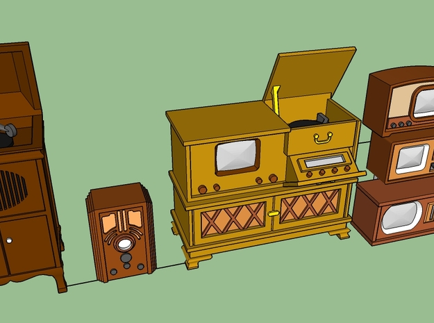 1940's TV's, radio, phonograph in Smooth Fine Detail Plastic
