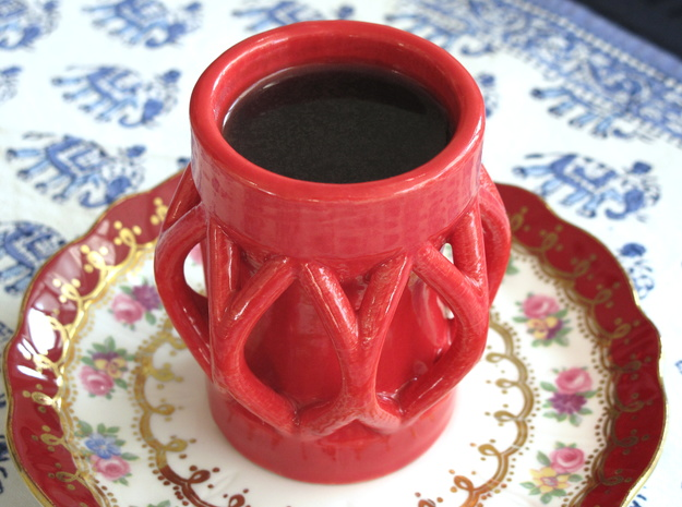 Caged Espresso Cup in Gloss Red Porcelain
