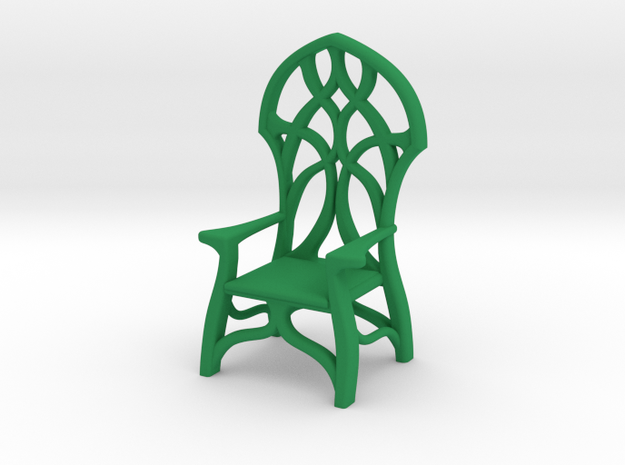 Elven Chair - 1/48 scale in Green Processed Versatile Plastic