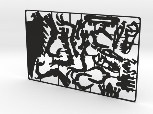 Velociraptor business card puzzle in Black Natural Versatile Plastic