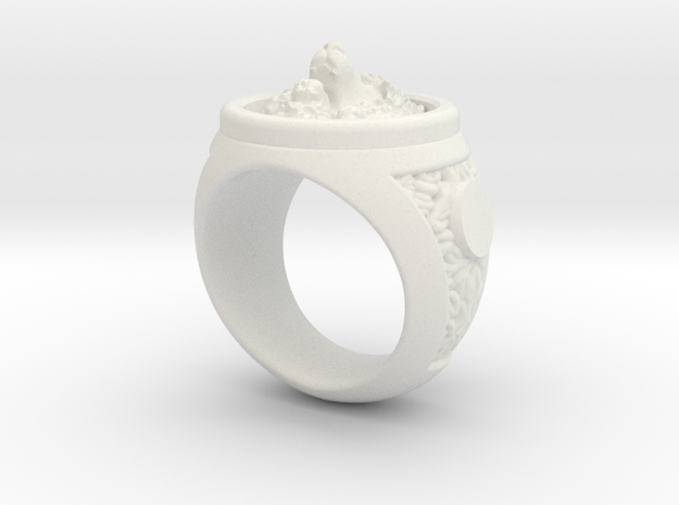 Lion Ring in White Natural Versatile Plastic