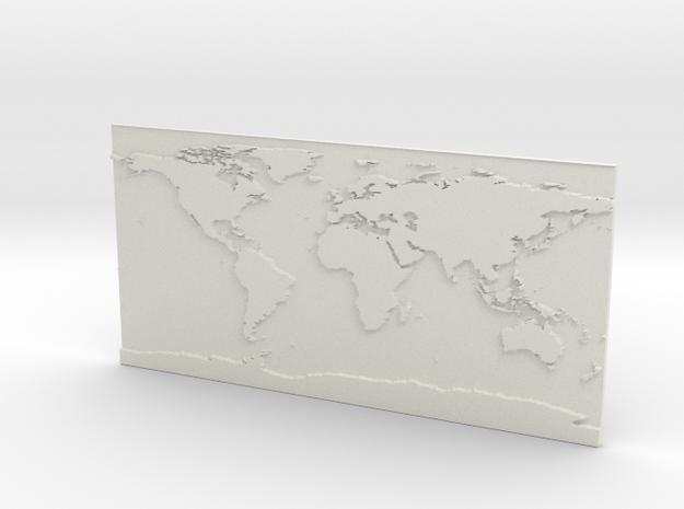 Globe Map in White Natural Versatile Plastic: Small
