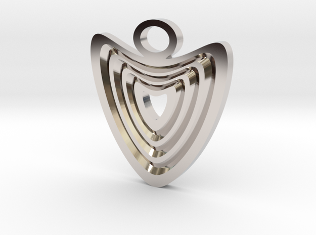 Heart with grooves Pendant in Rhodium Plated Brass