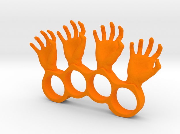 4 finger silly hand ring in Orange Processed Versatile Plastic