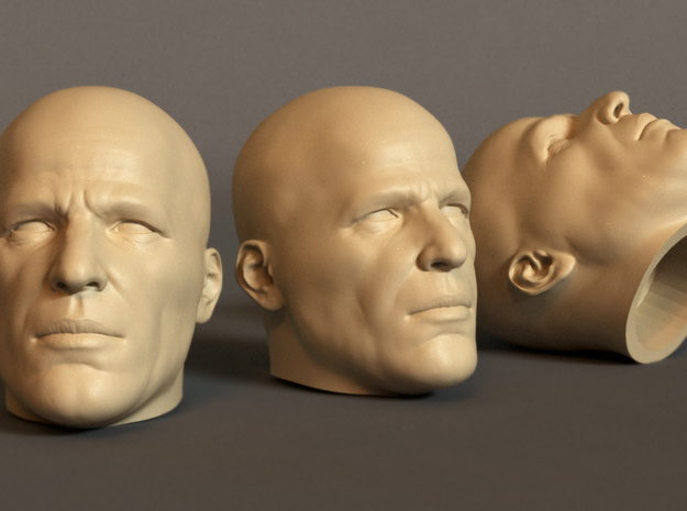 Generic Male Head 1/6 scale figure - Variant 08 in White Strong & Flexible Polished: Small