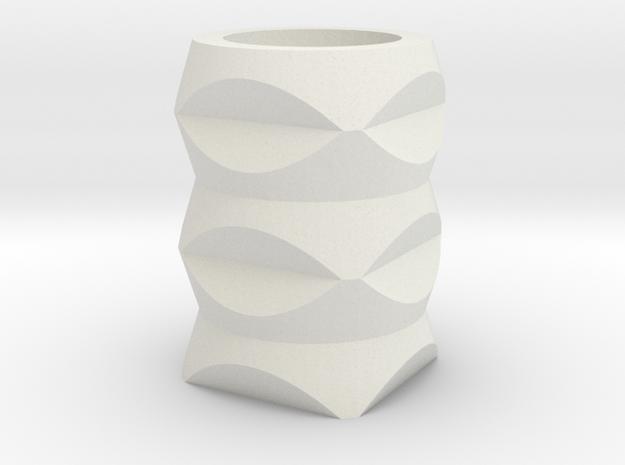 Geometric Vase in White Natural Versatile Plastic