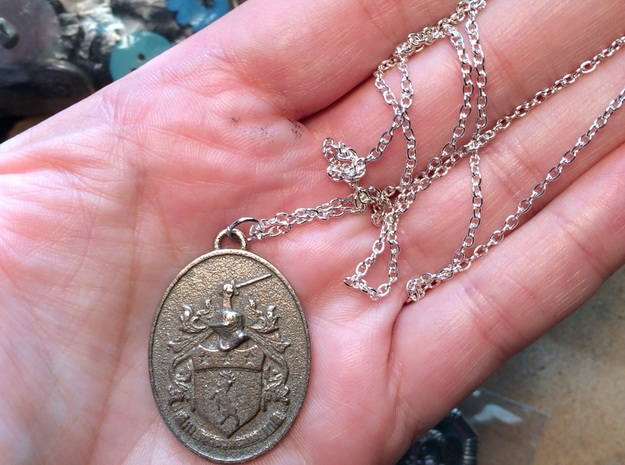 Coat of Arms Pendant Irish Family Crest Doherty  in Polished Bronzed Silver Steel