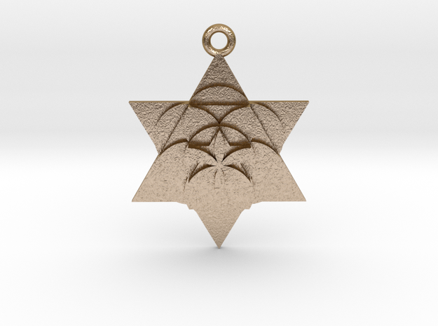 """Star Seed Pendant Steel 1"""" in Polished Gold Steel"""
