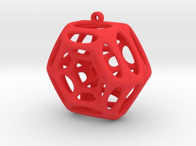 Voronoi Klein Earring (004) in Red Processed Versatile Plastic