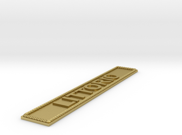 Nameplate LITTORIO in Natural Brass