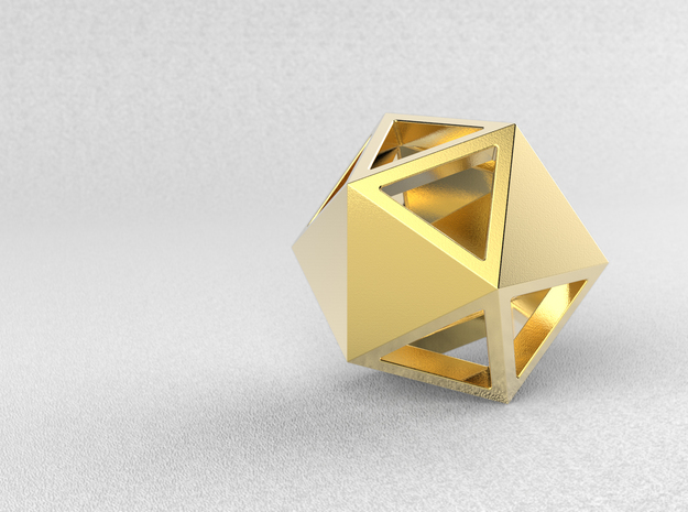 Go Geometric Pendant Icosa Open in Polished Gold Steel