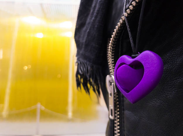 Rotating hearts in Purple Processed Versatile Plastic