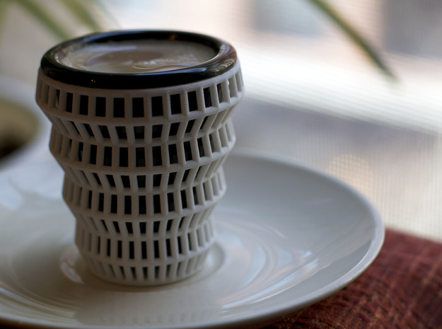 Wireframe Espresso Cup (Shell) in White Strong & Flexible