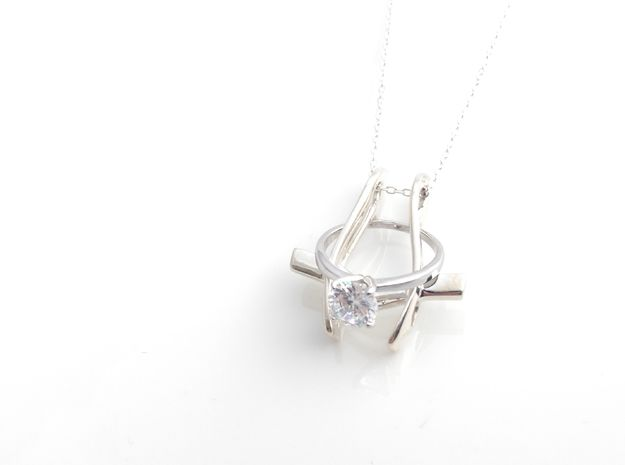 Ring Holder Pendant: Pilot in Polished Silver: Small