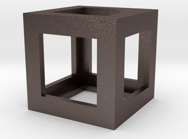 Mech Key Fidget Cube in Polished Bronzed Silver Steel