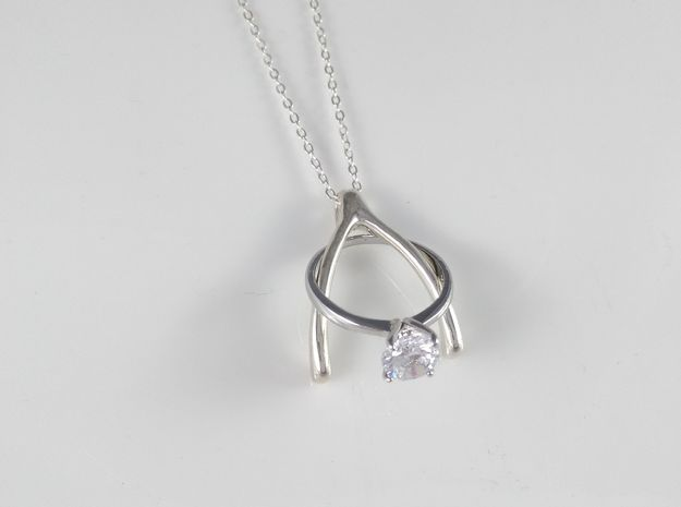 Ring Holder Pendant: Wishbone in Polished Silver: Small
