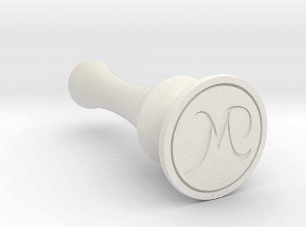 M Seal Stamp in White Natural Versatile Plastic