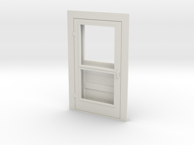 Door, Single with Screen, 47in X 82in, 1/32 Scale in White Natural Versatile Plastic