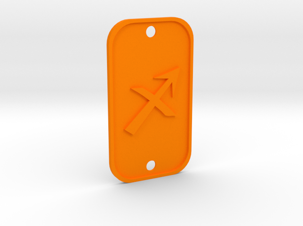 Sagittarius (The Archer) DogTag V1 in Orange Processed Versatile Plastic