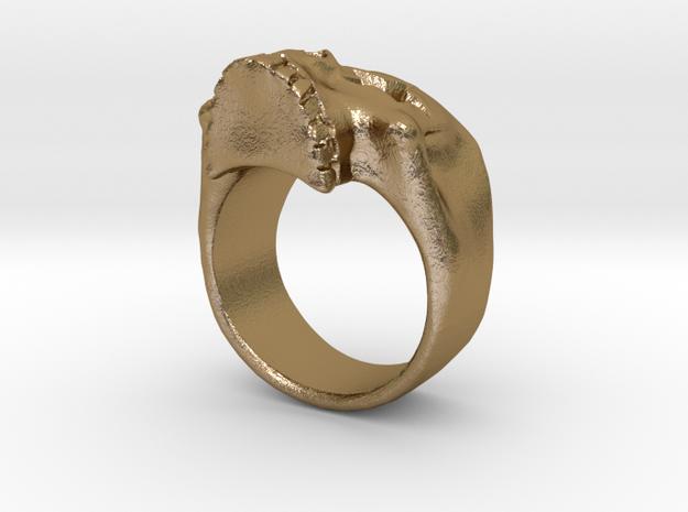Joker's Star-Eyes Skull Ring - Metals in Polished Gold Steel: 3 / 44
