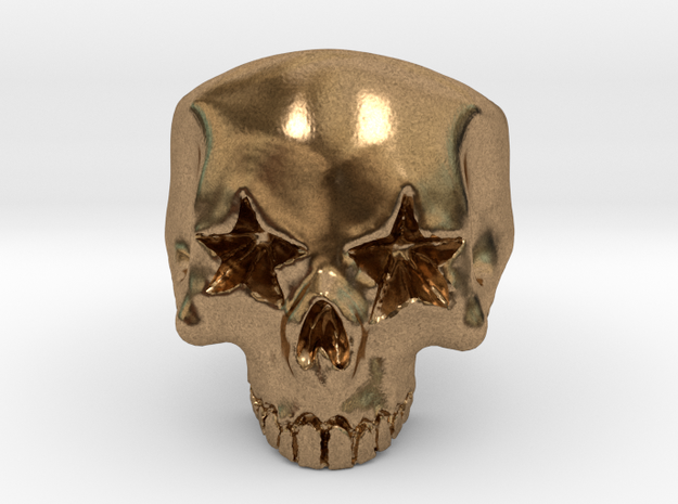 Joker's Star-Eyes Skull Ring - Metals in Natural Brass: 7 / 54