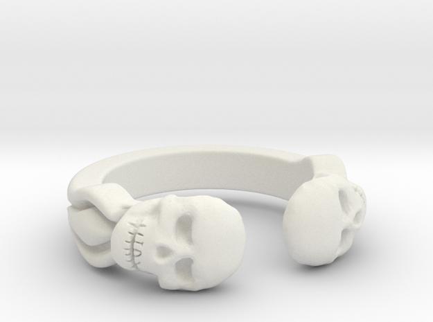 Joker's Double-Skull Ring - Plastics in White Natural Versatile Plastic: 7 / 54