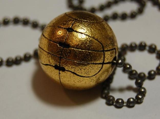 Apple of Eden Solid Pendant in Polished Gold Steel