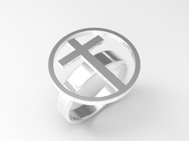 cross ring Size 7 - 16.8mm us 7, japan 13 in Polished Silver