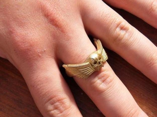 Winged Skull Ring 3d printed Gold Painted Stainless Steel