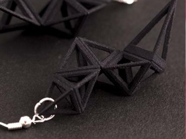CRYSTAL - earrings 3d printed Black