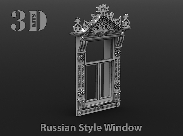 1/35 Russian style window - Design 1 in Smoothest Fine Detail Plastic