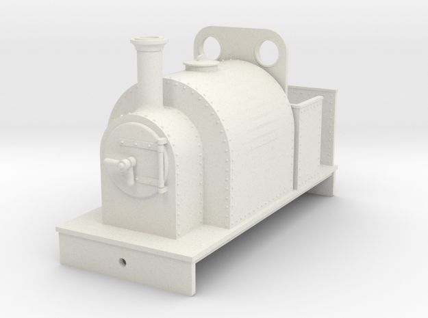 5.5 mm scale small saddle tank body with weatherbo in White Natural Versatile Plastic