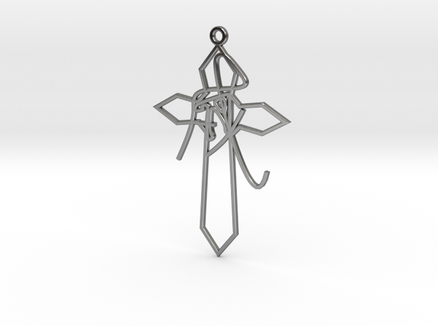 Personalised Astrological Eastern Cross Earring in Fine Detail Polished Silver