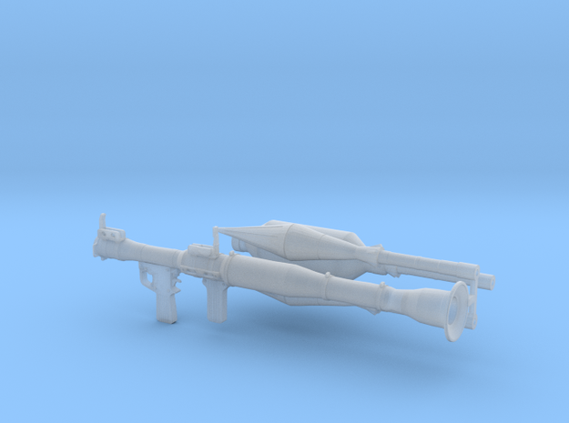 RPG launcher 1:16 scale with rockets in Smooth Fine Detail Plastic