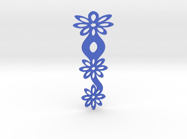 Floral bookmark - variant II in Blue Processed Versatile Plastic