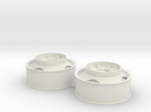 Voorwielen velgen 40x16 met driehoekgat en opstapr in White Natural Versatile Plastic