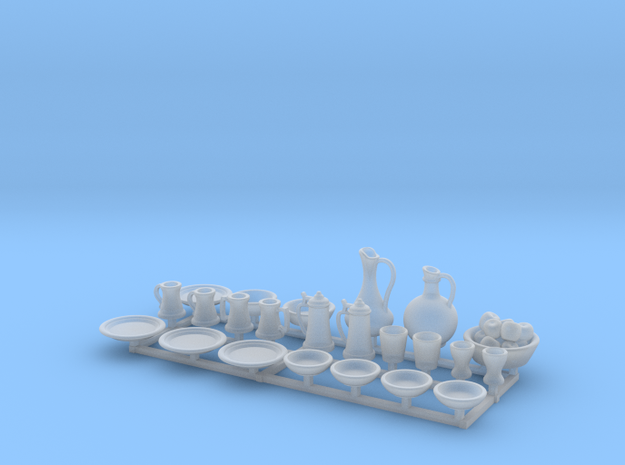 "Medieval feastware -23 piece 1/48 scale, ""O"" scale in Smooth Fine Detail Plastic"