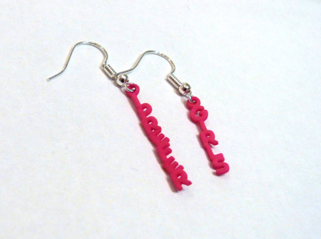"""I prefer girls"" - Naughty messages earings in Pink Processed Versatile Plastic"