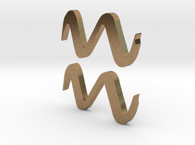 Aquarius (The Water-bearer) Symbol in Natural Brass