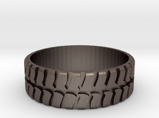 Tire ring 17.3mm custom in Polished Bronzed Silver Steel