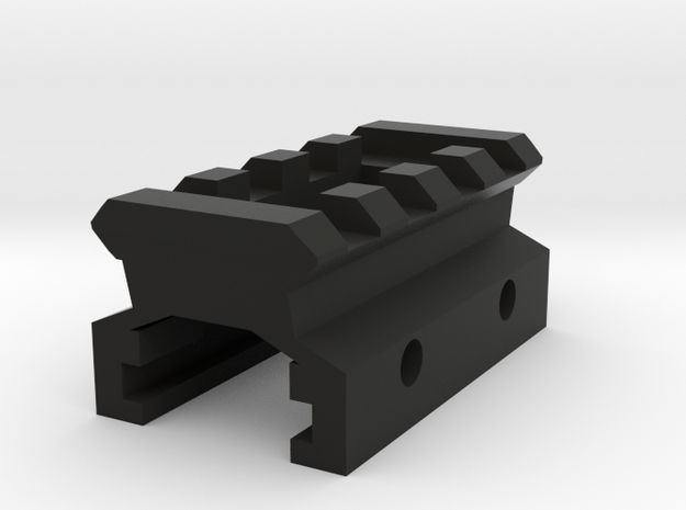 Nerf to Picatinny Adapter (4 Slots) in Black Natural Versatile Plastic