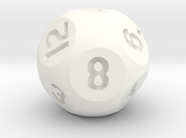 Rhombic Dodecahedral d12 Sphere Dice in White Processed Versatile Plastic