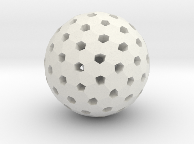 Polyhedron Pendant V in White Natural Versatile Plastic